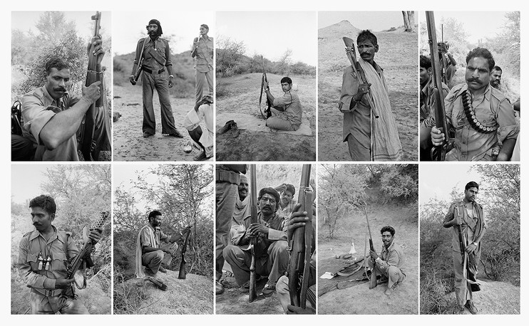 Composite image showing Malkhan Singh's gang members in the ravines, 1982.
