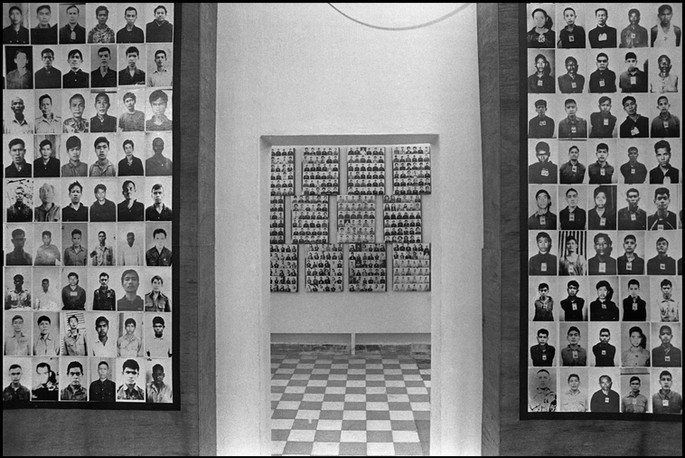 Photographs of victims of S-21, the school that was converted to the dreaded Tuol Sleng Prison during the Khmer Rouge reign.