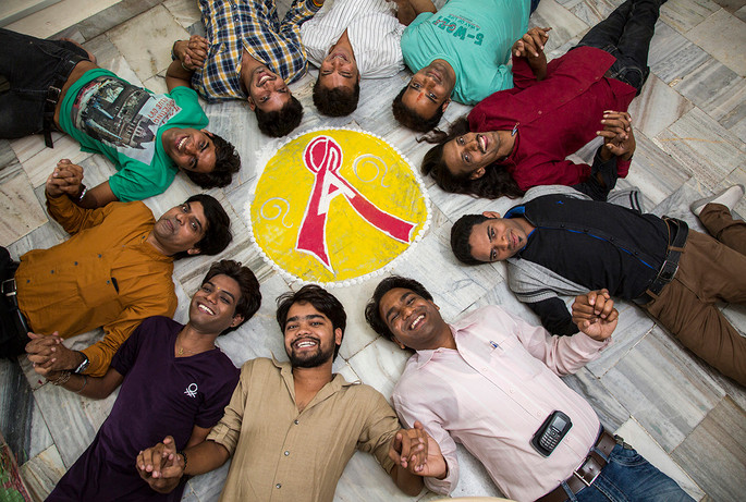 MSM community members of Badlav Samiti, under India HIV/AIDS Alliance's Pehchan program, at their DIC in Indore, Madhya Pradesh, India, 2014.