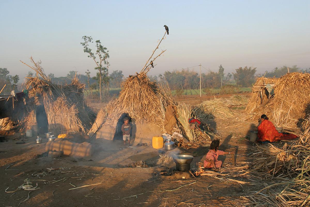 Kolhapur district, Maharashtra, 2005: Seasonal migrant families employed for sugarcane harvesting live in temporary homes.