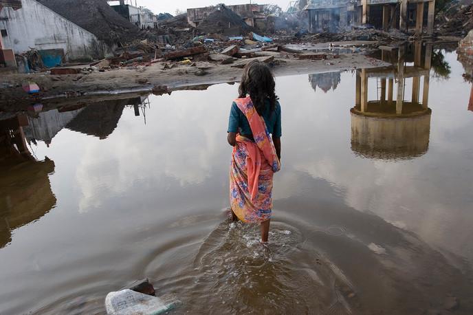 Nagapattinam, Tamil Nadu. 2004: A victim of the Tsunami in Akkarapatai village.