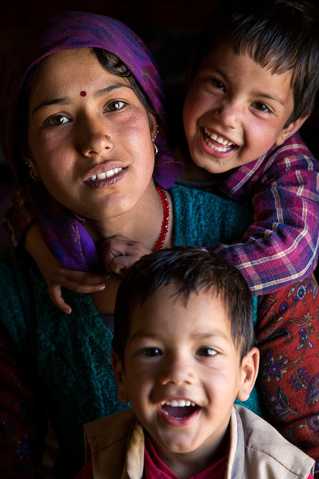 Ramita Rawat and her children who are covered under AIF's MANSI programin Mori block of Uttarkashi district, Uttarakhand, 2017.