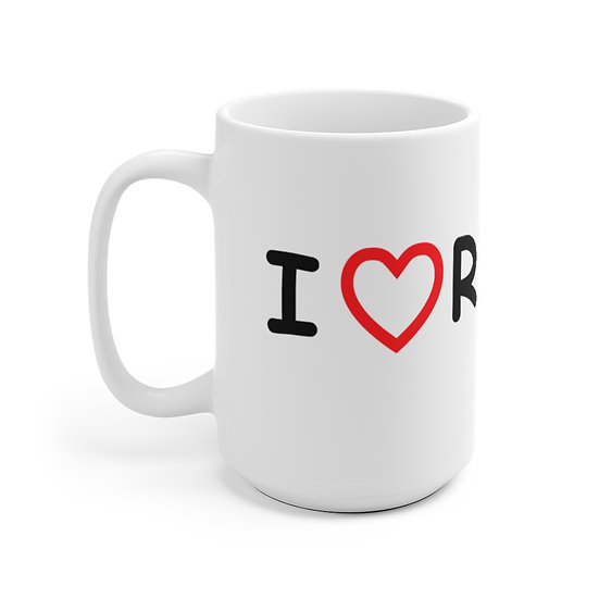 15 oz White Ceramic Mug, Love RVing