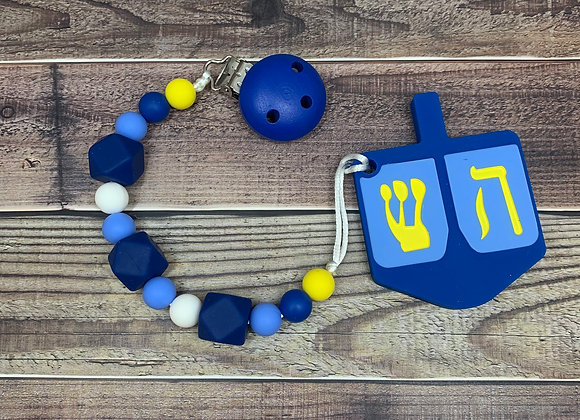 Hanukkah Dreidel Teether with Pacifier Clip Set