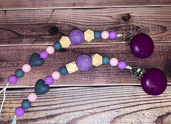 Purple & grey silicone heart pacifier clip
