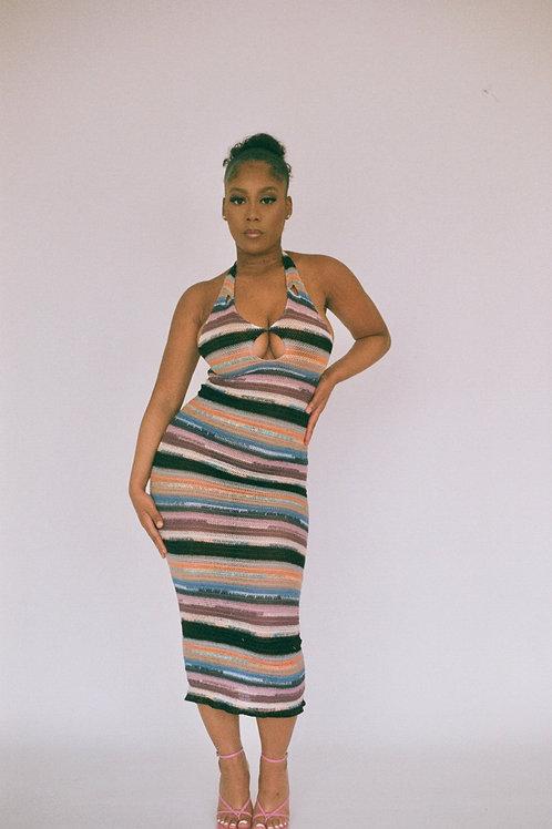 Slit Hand Woven Knit Dress