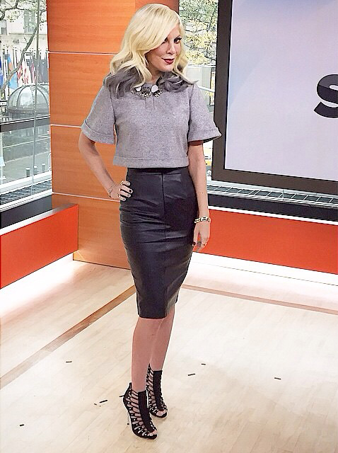 Tori Spelling in Fall 14 Crop Top