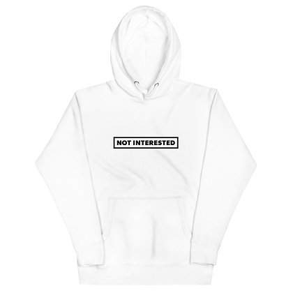 Not Interested White Hoodie