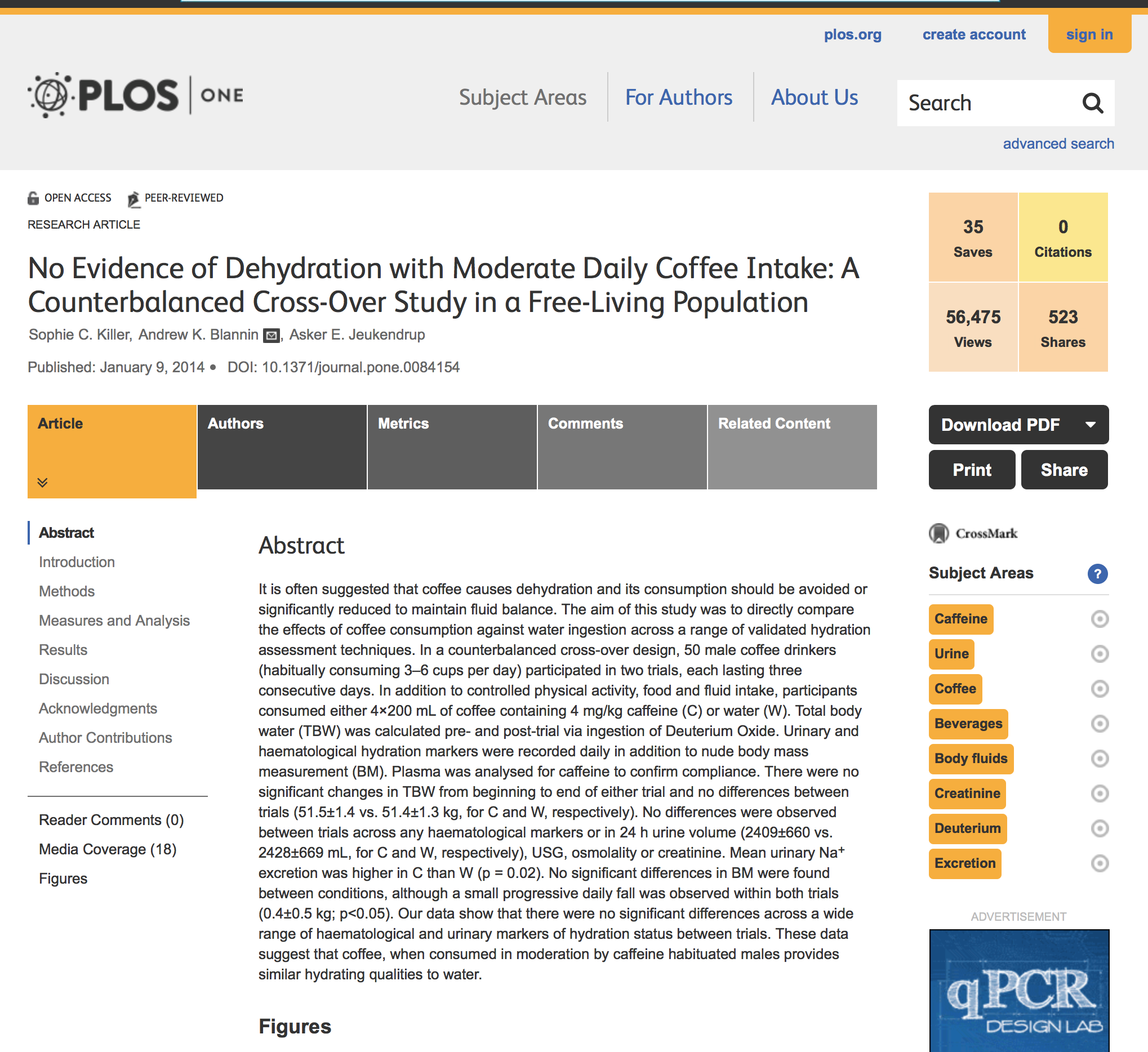 Coffee & dehydration PlosONE