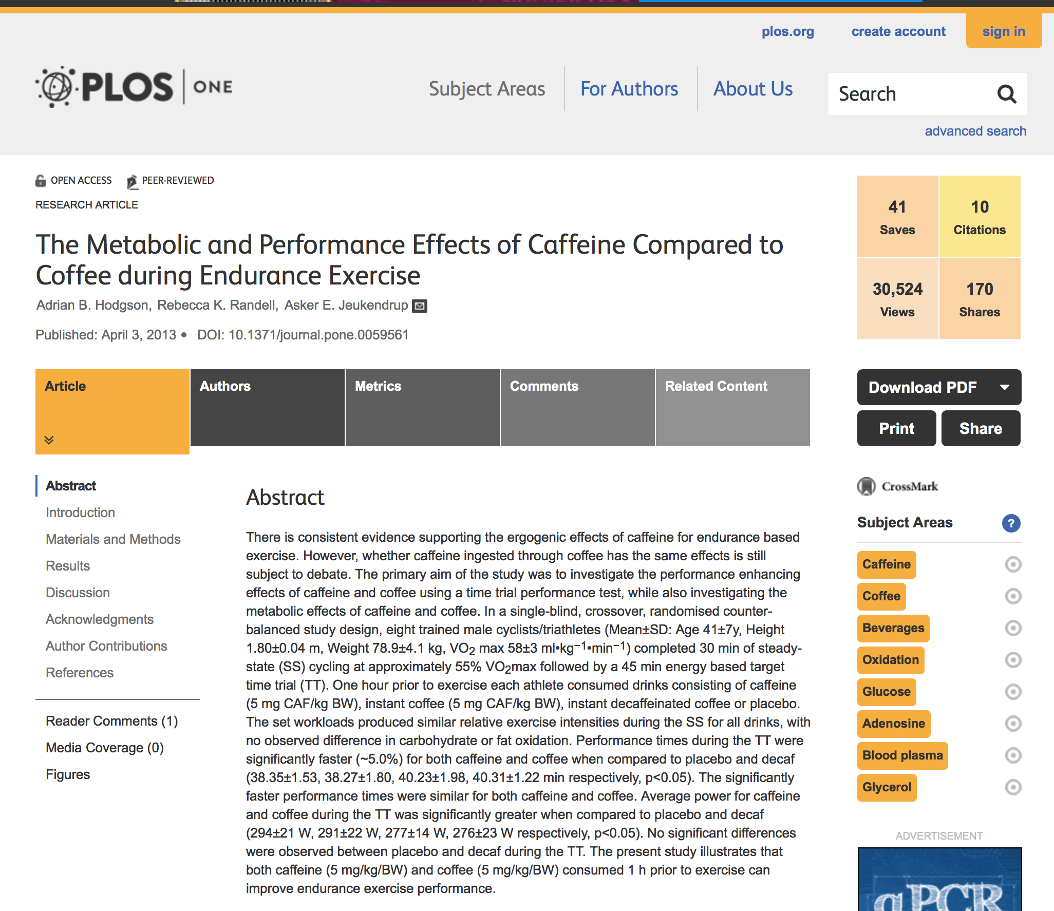 Caffeine vs coffee PlosONE