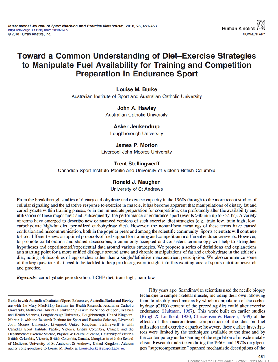 Toward a common understanding of diet–exercise strategies