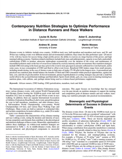 Contemporary nutrition strategies for runners and race walkers
