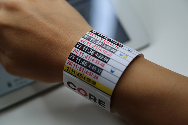 Paceband with a nutrition plan from CORE