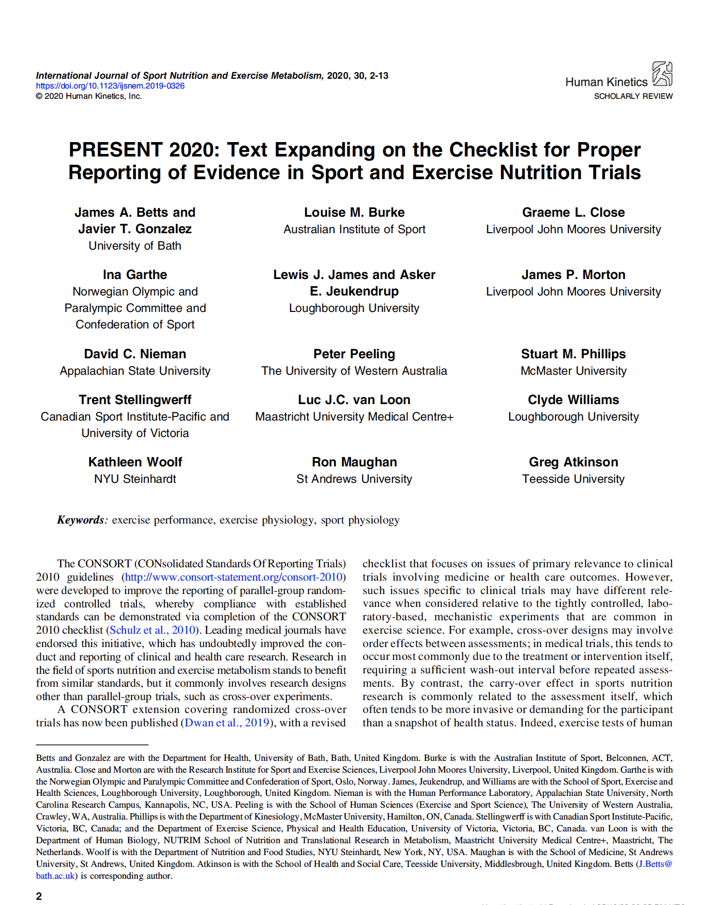 PRESENT 2020: Text Expanding on the Checklist for Proper Reporting of Evidence in Sport and Exercise