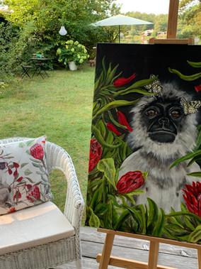 mit dem Pinsel in den Dschungel, ich hab mal wieder gemalt - passend zu den neuen Kissen.