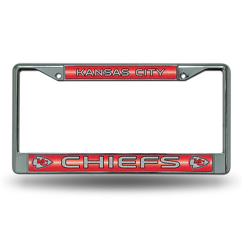 KC Chiefs Laser Cut Chrome License Plate Frame