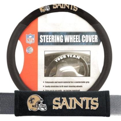 Saints Steering Wheel Cover/Seatbelt Pad Deluxe