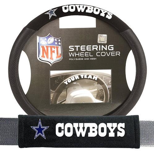 Cowboys Steering Wheel Cover/Seatbelt Pad 2 piece