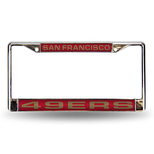 49ers Laser Cut Chrome License Plate Frame