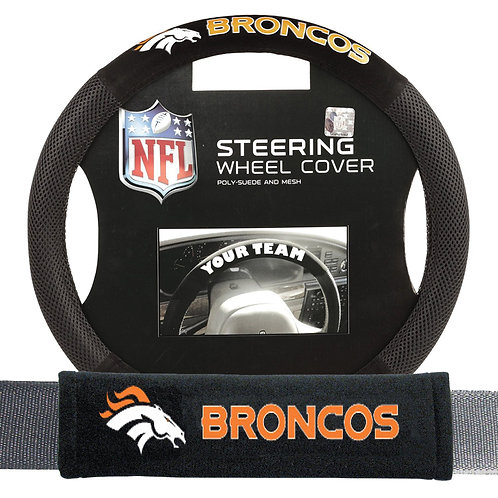 Broncos Steering Wheel Cover/Seatbelt Pad Kit