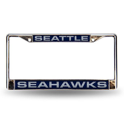 Seahawks Laser Cut Chrome License Plate Frame
