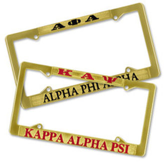 Omega Psi Phi Brass License Plate Frame
