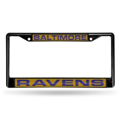 Ravens Laser Cut Black License Plate Frame