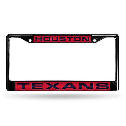 Texans Laser Cut Black License Plate Frame