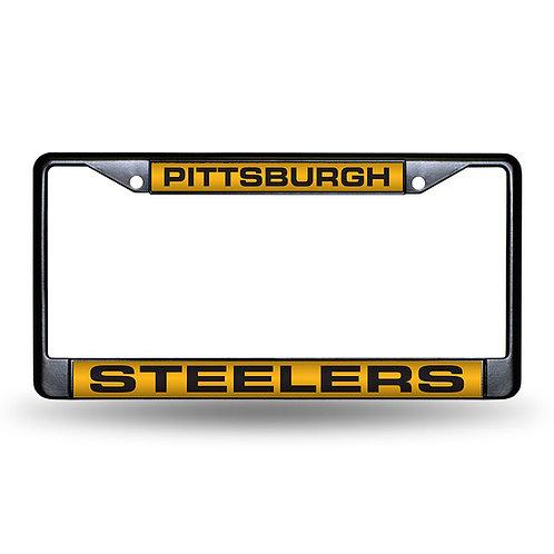 Steelers Laser Cut Black License Plate Frame