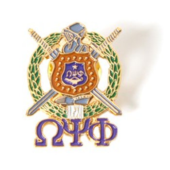 Omega Psi Phi 3D Color Shield Pin w. Letters