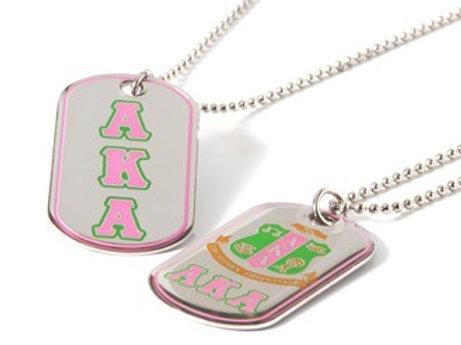 Alpha Kappa Alpha Reversible Silver Dog Tag