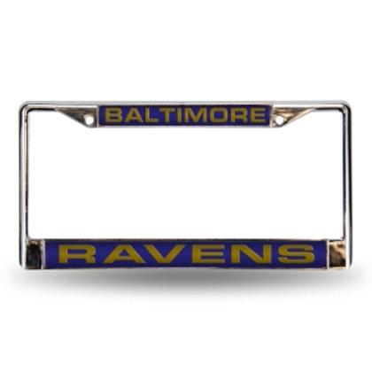 Ravens Laser Cut Chrome License Plate Frame