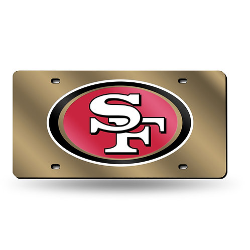 49ers Gold Laser Cut License Plate Tag