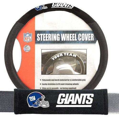 Giants Steering Wheel Cover/Seatbelt Pad 2 piece