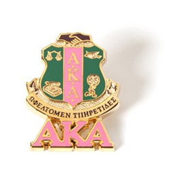 AKA 3D Color Shield Pin w/letters