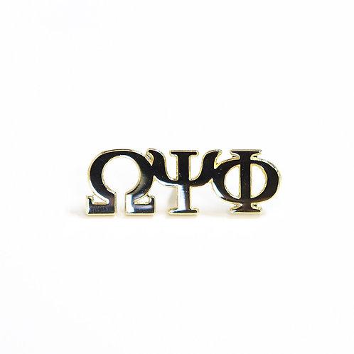 Omega Psi Phi 3 Letter Gold Pin