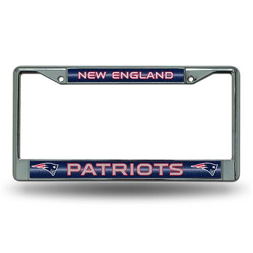 New England Patriots Laser Cut Chrome License Plat