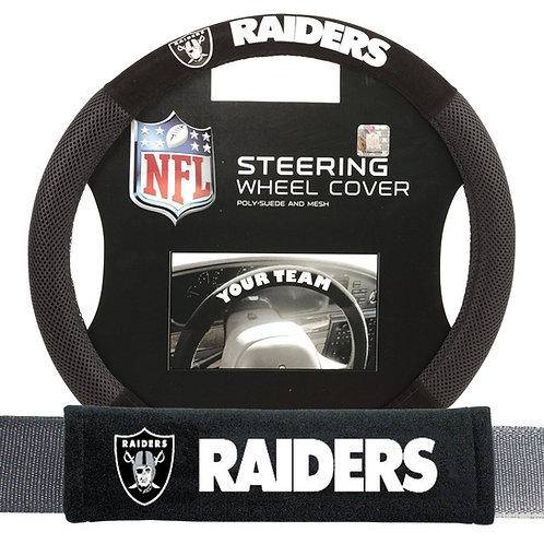 Raiders Steering Wheel Cover/Seatbelt Pad (2pc)