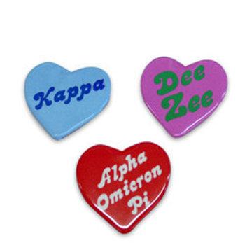 Delta Sigma Theta Heart Shaped Button