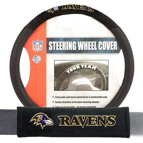 Ravens Steering Wheel Cover and Seatbelt Kit