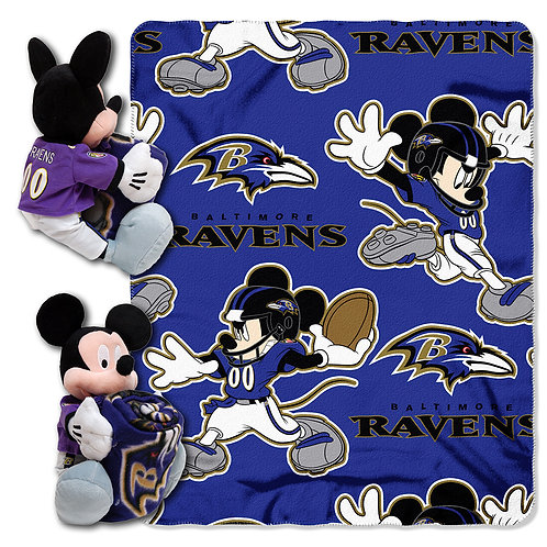 Baltimore Ravens Mickey Mouse Throw Combo