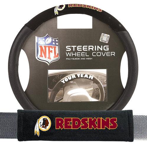 Redskins Steering Wheel Cover/Seatbelt Pad set