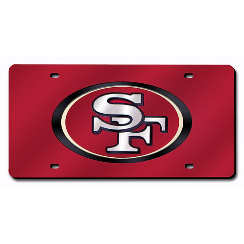 49ers Red Laser Cut License Plate Tag
