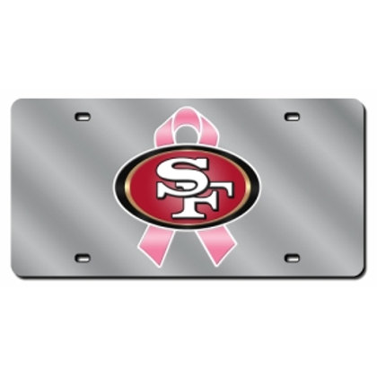 49ers Breast Cancer Laser Cut License Plate Tag