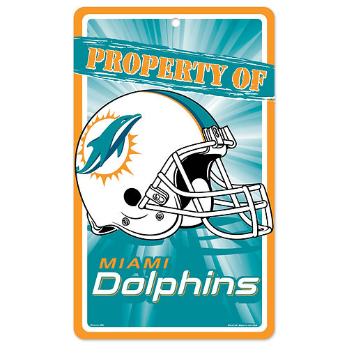 """Miami Dolphins Property of Sign (7.25""""x12"""")"""