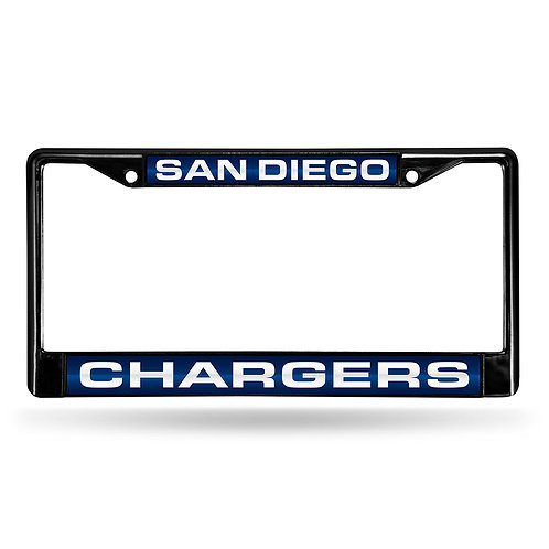 Chargers Laser Cut Black License Plate Frame