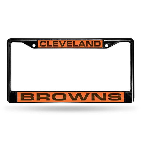 Browns Laser Cut Black License Plate Frame