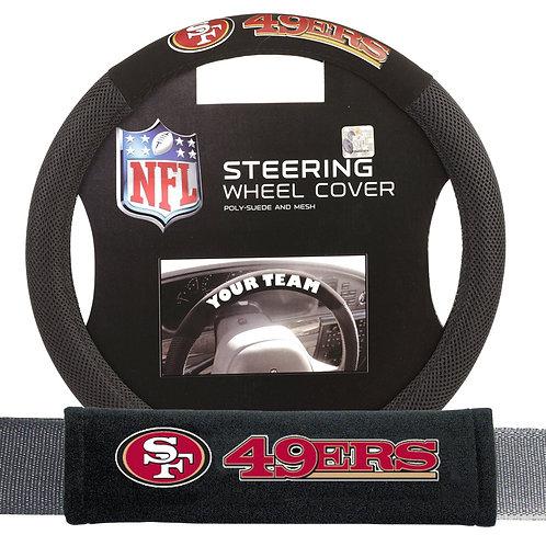 49ers Steering Wheel Cover/Seatbelt Pad Deluxe Kit