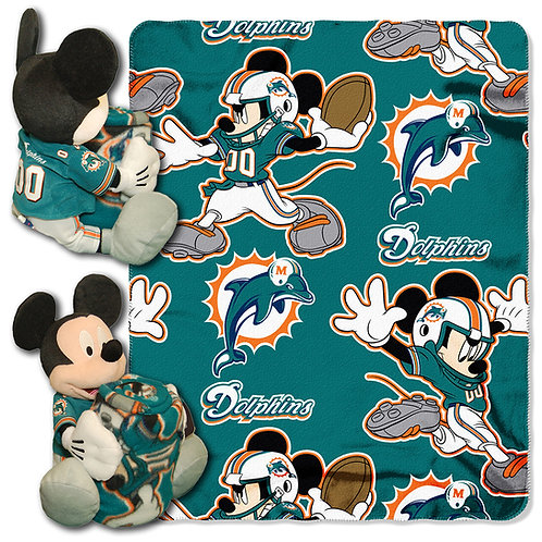 Miami Dolphins Mickey Mouse Throw Combo