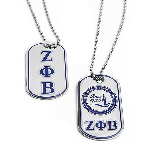 Zeta Phi Beta Reversible Silver Dog Tag